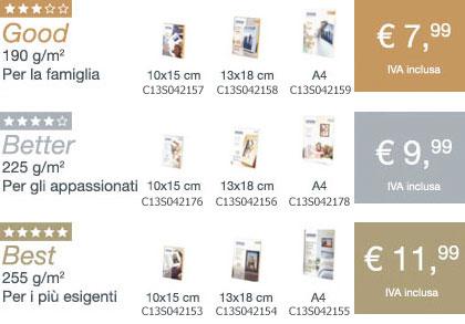 Catalogo carte fotografiche epsonstampanti epson for Carta fotografica epson